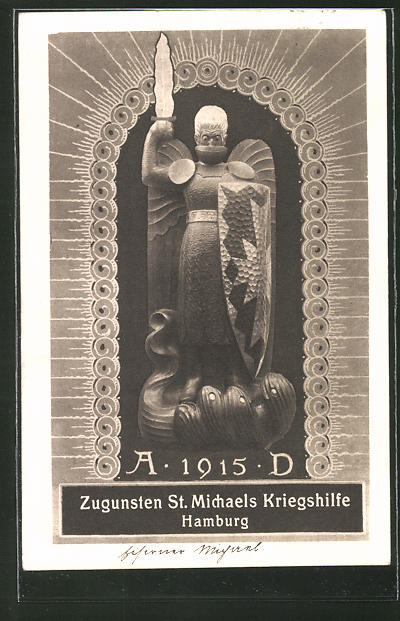 AK Hamburg, St. Michaels Kriegshilfe 1915, Nagelung