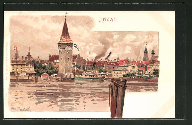 Künstler-Lithographie Otto Strützel: Lindau, Dampfer passiert Turm