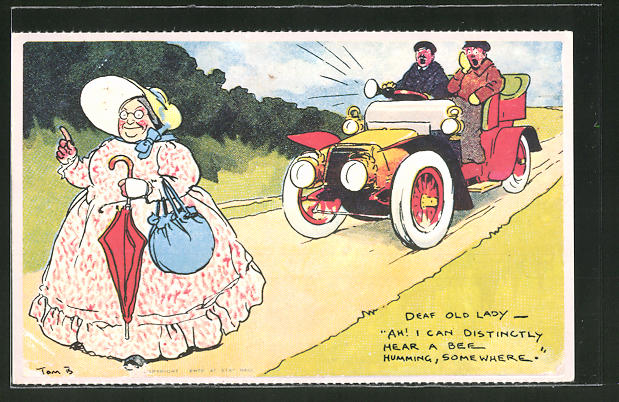 Künstler-AK Tom Browne: Deaf old Lady..., Taube Greisin und heranbrausendes Auto, Scherz