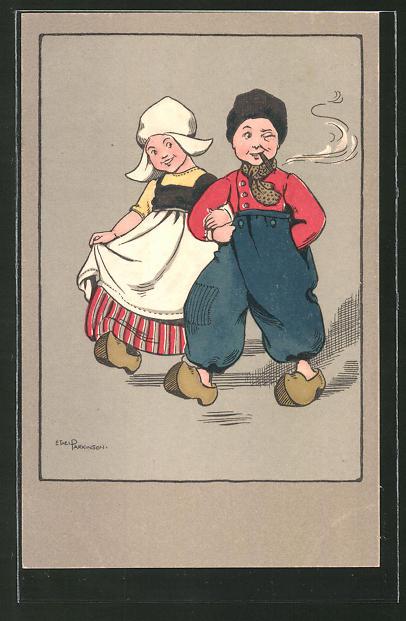 Künstler-AK Ethel Parkinson: Kleines Holländer-Paar in Tracht