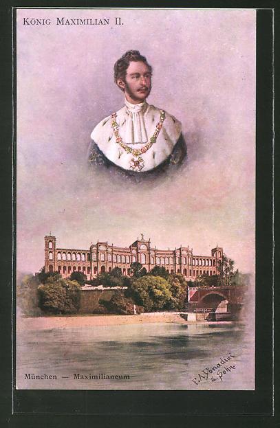 Künstler-AK Ermenegildo Antonio Donadini: München, Maximilianeum, König Maximilian II. von Bayern
