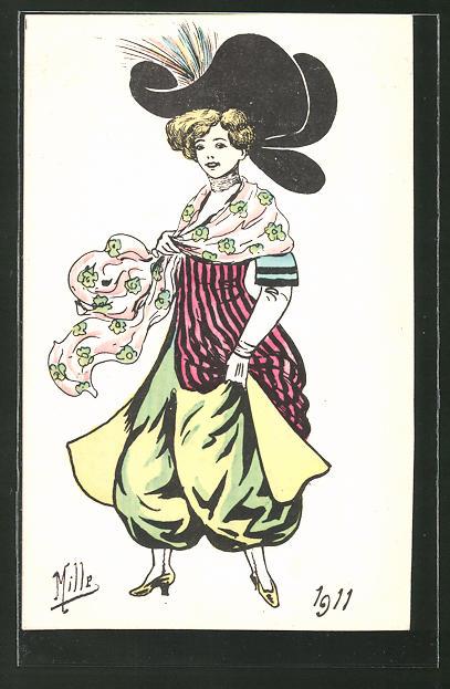 Künstler-AK sign. Mille: Dame in Mode des Jahres 1911
