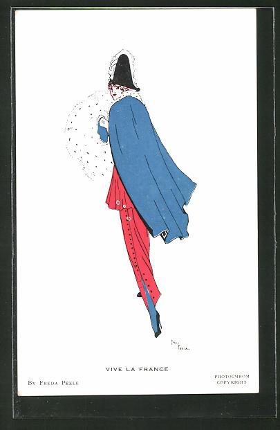 Künstler-AK sign. Freda Peele: Vive la France, Elegante Dame in Kleidung der französischen Farben