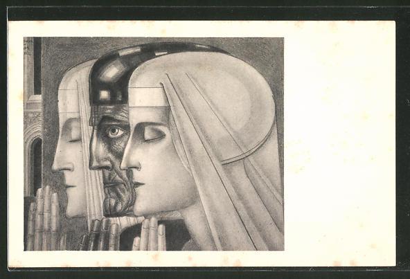 Künstler-AK Jan Toorop: Nonnen und Geistlicher beim Gebet