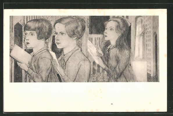 Künstler-AK Jan Toorop: Singende Kinder in der Kirche