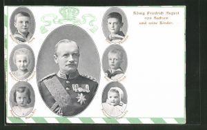 AK König Friedrich August III. von Sachsen und seine Kinder