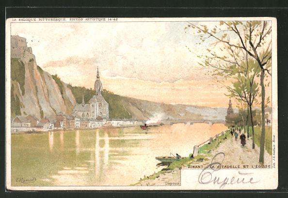 Künstler-AK F. Ranot: Dinant, La Citadelle et l'Église