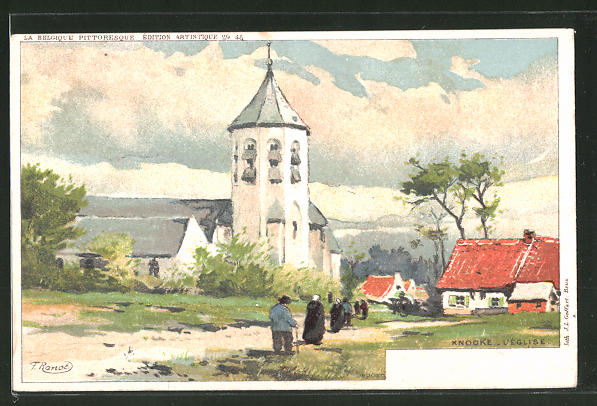 Künstler-AK F. Ranot: Knocke, l'Église, Partie an der Kirche
