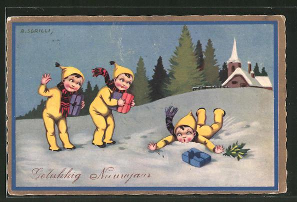 Künstler-AK sign. R. Sgrilli: Neujahrsgruss, Kinder mit Geschenken