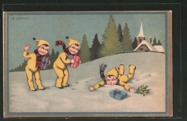 Künstler-AK sign. R. Sgrilli: Gratulanten mit Geschenken im Schnee