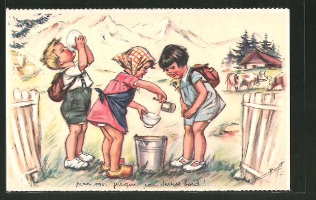 Künstler-AK Germaine Bouret: Bauernmädchen erfrischt kleine Wanderer mit einer Tasse Milch