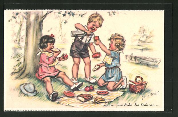 Künstler-AK Germaine Bouret: Kinder haben Spass beim Picknick