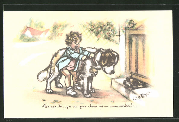 Künstler-AK Germaine Bouret: Mädchen mit Bernhardiner und bellendem Terrier