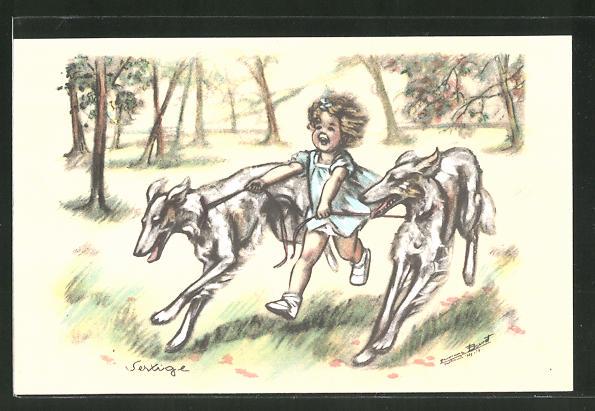Künstler-AK Germaine Bouret: Mädchen tollt mit Windhunden herum