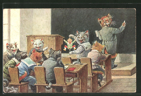 Künstler-AK Arthur Thiele: Schabernack in der Katzenschule, vermenschlichte Tiere