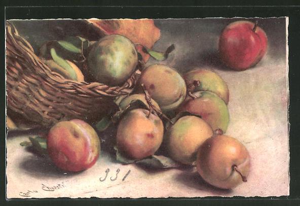Künstler-AK Carlo Chiostri: Stilleben mit Pfirsichen