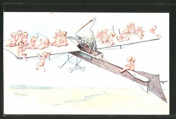Künstler-AK Elly Frank: Säuglinge auf Flugzeug und Storch