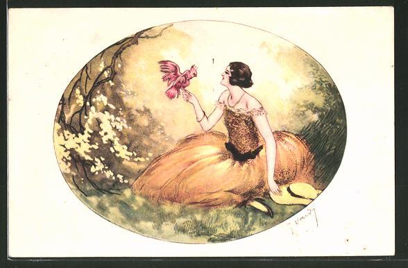 Künstler-AK J. Hardy: Junge Dame mit Kakadu