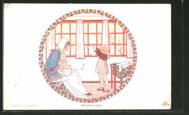 Künstler-AK Henriette Willebeek le Mair: Little People, Dressing baby, Kinder