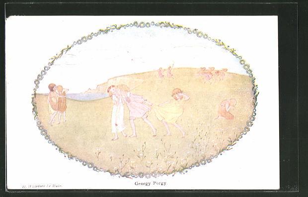 Künstler-AK Henriette Willebeek le Mair: Our old Nursery Rhymes, Georgy Porgy, Kinder auf Wiese