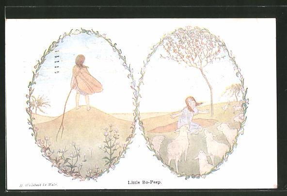 Künstler-AK Henriette Willebeek le Mair: Our Old Nursery Rhymes, Little Bo-Peep, kleine Schäferin