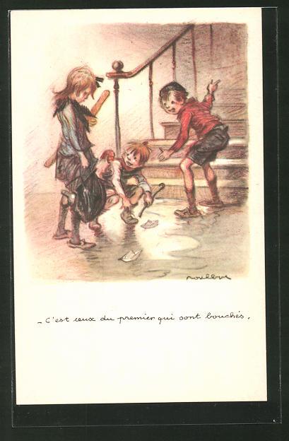 Künstler-AK Francisque Poulbot: Ligue Nationale contre le Taudi, C'est ceux du premier qui sont bouchés, Kinder