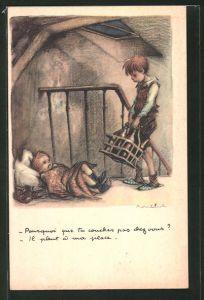 Künstler-AK Francisque Poulbot: Ligue Nationale contre le Taudi, Knabe mit Flaschen und Kleinkind