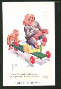 Künstler-AK Lawson Wood: Step on it, Horace!, Affen mit Tretauto