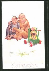 Künstler-AK Lawson Wood: Zo weet het grut..., Affenfamilie