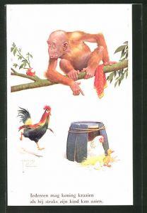 Künstler-AK Lawson Wood: Iederen mag koning kraaien..., Affe, Hahn und Henne mit Entenkücken