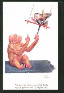 Künstler-AK Lawson Wood: Wanneer je slim èn..., Orang Utan und Affe auf Schaukel