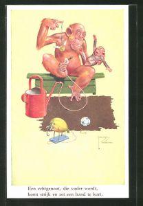 Künstler-AK Lawson Wood: Een echtgenoot, die vader wordt..., überforderter Affenvater