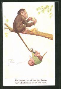 Künstler-AK Lawson Wood: Een oppas, zó, of om de brode..., Affenschaukel
