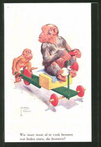 Künstler-AK Lawson Wood: Wie moet maar al the vaak bezuren..., Affen mit Tretauto