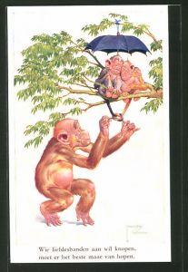 Künstler-AK Lawson Wood: Wie liefdesbanden aan wil knopen..., verliebte Affen werden geneckt