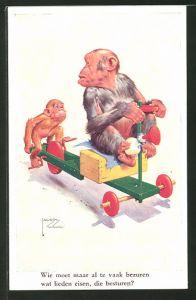 Künstler-AK Lawson Wood: Komische Affen mit Tretauto