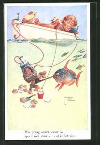 Künstler-AK Lawson Wood: Wie graag onder water is..., tauchender Affe