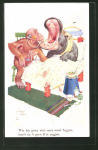 Künstler-AK Lawson Wood: Wie bij griep zich neer moet leggen..., Affenarzt und Nilpferd