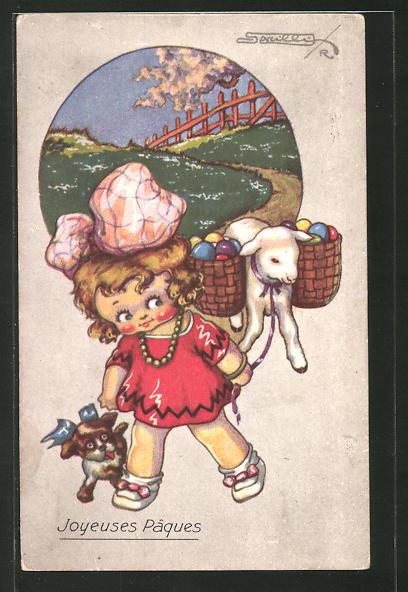 Künstler-AK sign. R. Sgrilli: Joyeuses Pâques, Mädchen und Lamm mit bunten Eiern