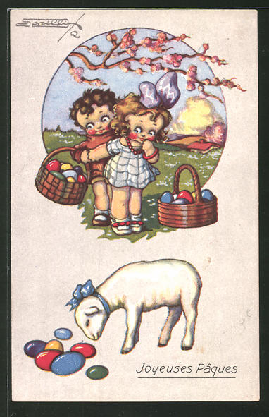 Künstler-AK sign. R. Sgrilli: Joyeuses Pâques, Kinder mit bunten Eiern und Lamm