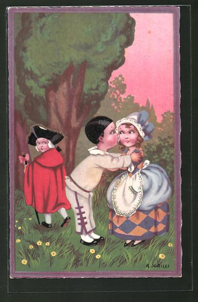 Künstler-AK sign. R. Sgrilli: Kinder in historischer Mode, Kuss im Park