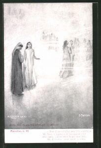 Künstler-AK Divina Comedia, Purgatorio, c. III, Non ti meravigliar perch'io..., Dante Alighieri