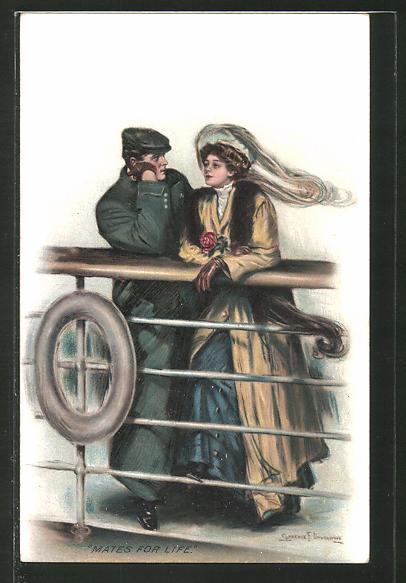 Künstler-AK Clarence F. Underwood: Paar steht an der Reeling eines Schiffes