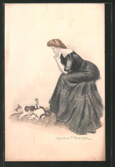 Künstler-AK Clarence F. Underwood: Frau beobachtet Kätzchen beim Spielen