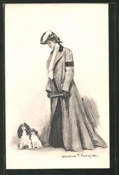 Künstler-AK Clarence F. Underwood: Frau mit Cocker Spaniel spazierengehend