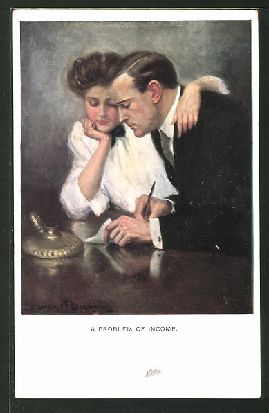 Künstler-AK Clarence F. Underwood: A Problem of Income