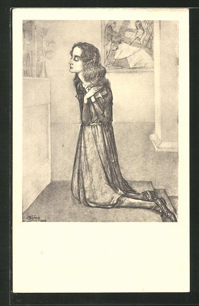Künstler-AK Jan Toorop: Frau beim Gebet