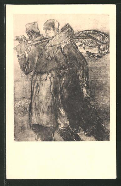 Künstler-AK Jan Toorop: Fischer streifen am See entlang