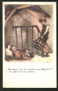 Künstler-AK Francisque Poulbot: Kleinkind schläft auf dem blanken Fussboden