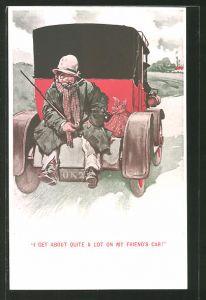 Künstler-AK Lawson Wood: Landstreicher lässt sich von einem Auto mitnehmen